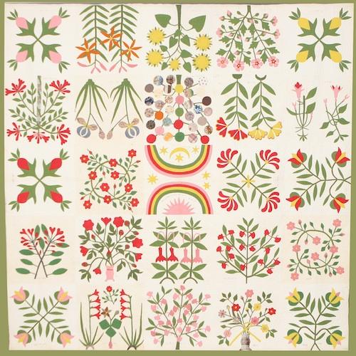 2-8  Quilt, botanical